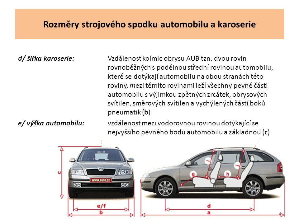 Rozměry strojového spodku automobilu a karoserie d/ šířka karoserie:Vzdálenost kolmic obrysu AUB tzn.