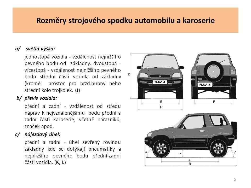 Rozměry strojového spodku automobilu a karoserie a/ světlá výška: jednostopá vozidla - vzdálenost nejnižšího pevného bodu od základny.