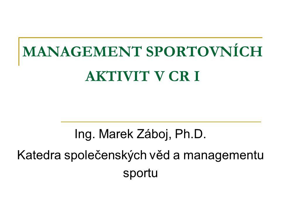 MANAGEMENT SPORTOVNÍCH AKTIVIT V CR I Ing. Marek Záboj, Ph.D.
