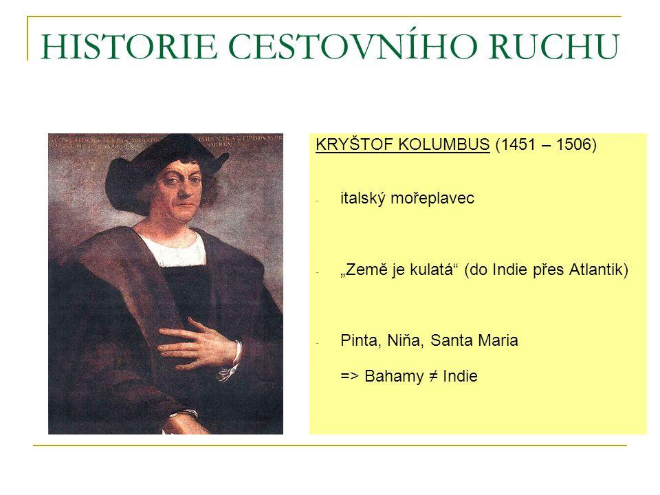 "KRYŠTOF KOLUMBUS (1451 – 1506) - italský mořeplavec - ""Země je kulatá (do Indie přes Atlantik) - Pinta, Niňa, Santa Maria => Bahamy ≠ Indie"