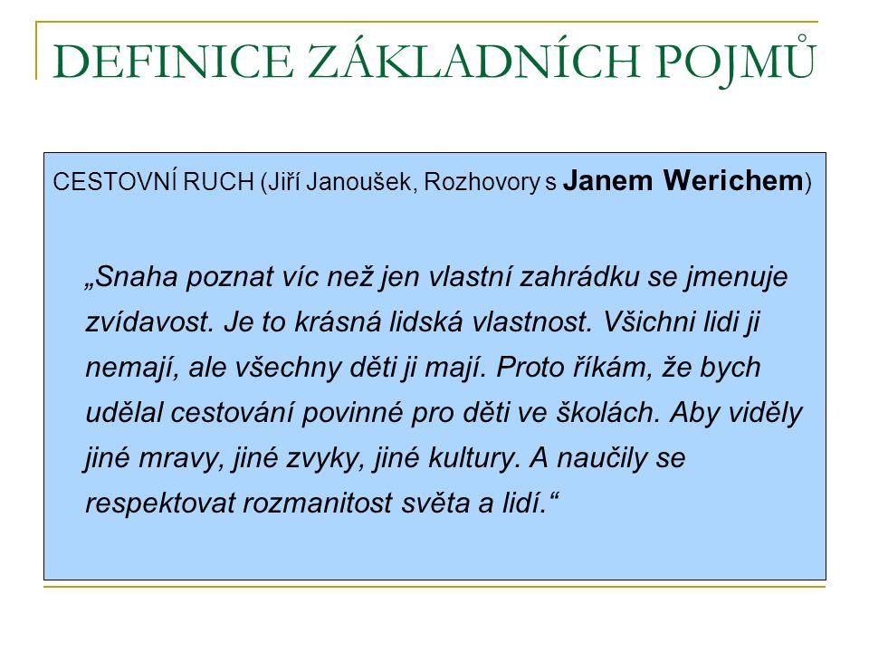 """DEFINICE ZÁKLADNÍCH POJMŮ CESTOVNÍ RUCH (Jiří Janoušek, Rozhovory s Janem Werichem ) """"Snaha poznat víc než jen vlastní zahrádku se jmenuje zvídavost."""
