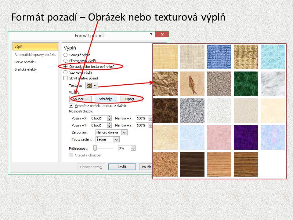 Formát pozadí – Obrázek nebo texturová výplň