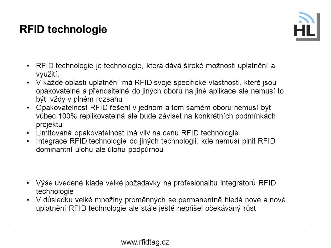 Co je na pozadí RFID Technologie www.rfidtag.cz Dva klíčový hráči: Materiálové inženýrství – velmi důležité především pro oblast UHF Radioelektronika - HF a UHF frekvence Low cost Štítky Semi-pasivní tagy Pasivní tagy Aktivní tagy Cena Oblasti využití RFID technologie