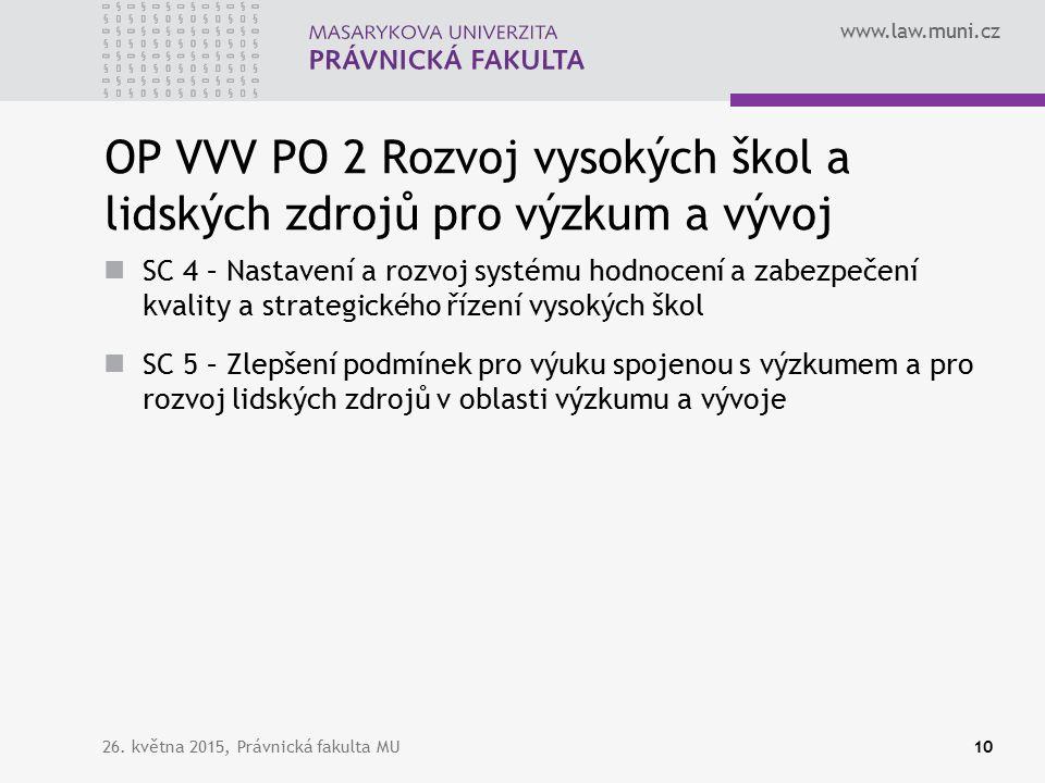 www.law.muni.cz OP VVV PO 2 Rozvoj vysokých škol a lidských zdrojů pro výzkum a vývoj SC 4 – Nastavení a rozvoj systému hodnocení a zabezpečení kvality a strategického řízení vysokých škol SC 5 – Zlepšení podmínek pro výuku spojenou s výzkumem a pro rozvoj lidských zdrojů v oblasti výzkumu a vývoje 26.