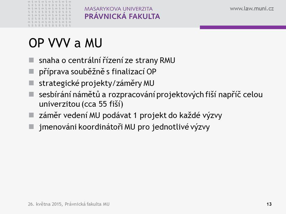 www.law.muni.cz OP VVV a MU snaha o centrální řízení ze strany RMU příprava souběžně s finalizací OP strategické projekty/záměry MU sesbírání námětů a rozpracování projektových fiší napříč celou univerzitou (cca 55 fiší) záměr vedení MU podávat 1 projekt do každé výzvy jmenováni koordinátoři MU pro jednotlivé výzvy 26.