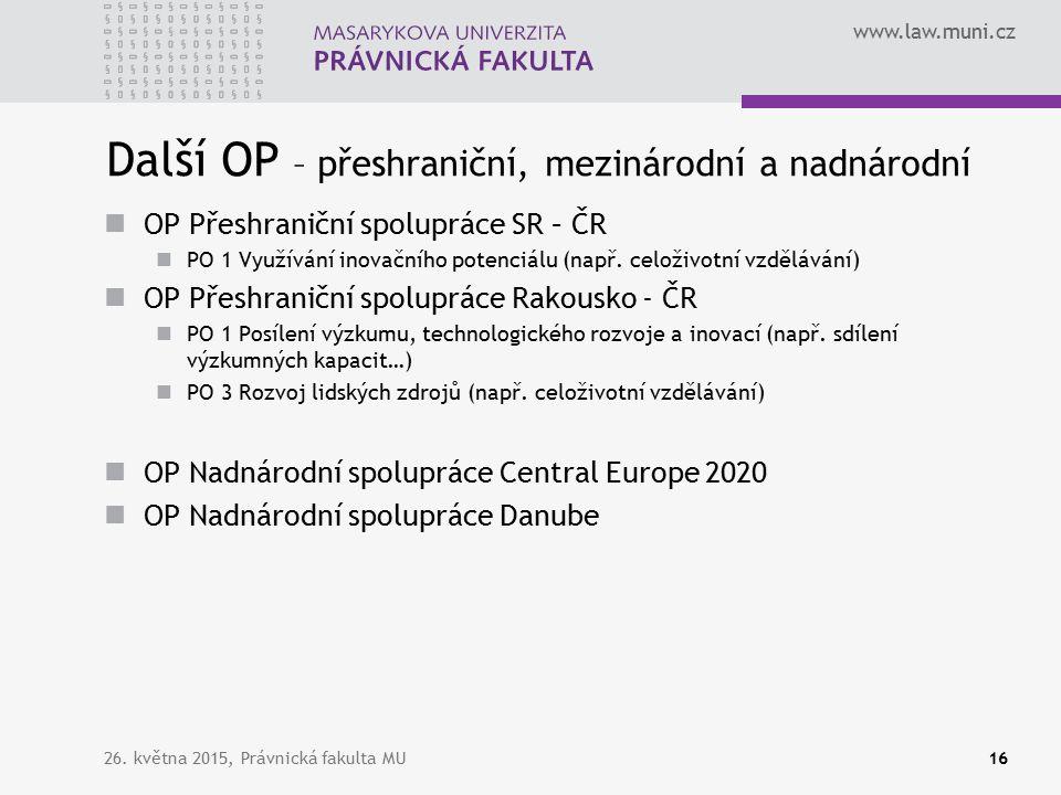 www.law.muni.cz Další OP – přeshraniční, mezinárodní a nadnárodní OP Přeshraniční spolupráce SR – ČR PO 1 Využívání inovačního potenciálu (např.