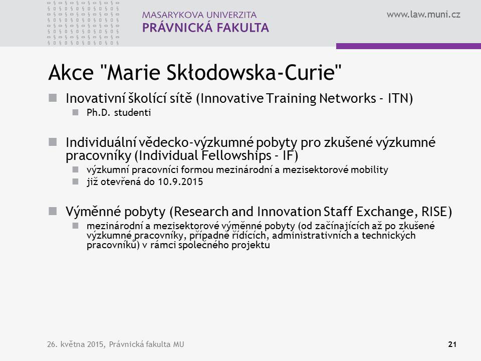 www.law.muni.cz Akce Marie Skłodowska-Curie Inovativní školící sítě (Innovative Training Networks - ITN) Ph.D.