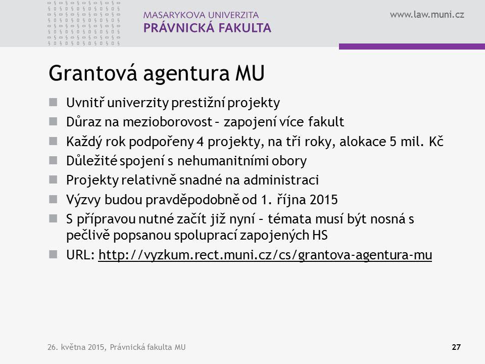 www.law.muni.cz Grantová agentura MU Uvnitř univerzity prestižní projekty Důraz na mezioborovost – zapojení více fakult Každý rok podpořeny 4 projekty, na tři roky, alokace 5 mil.