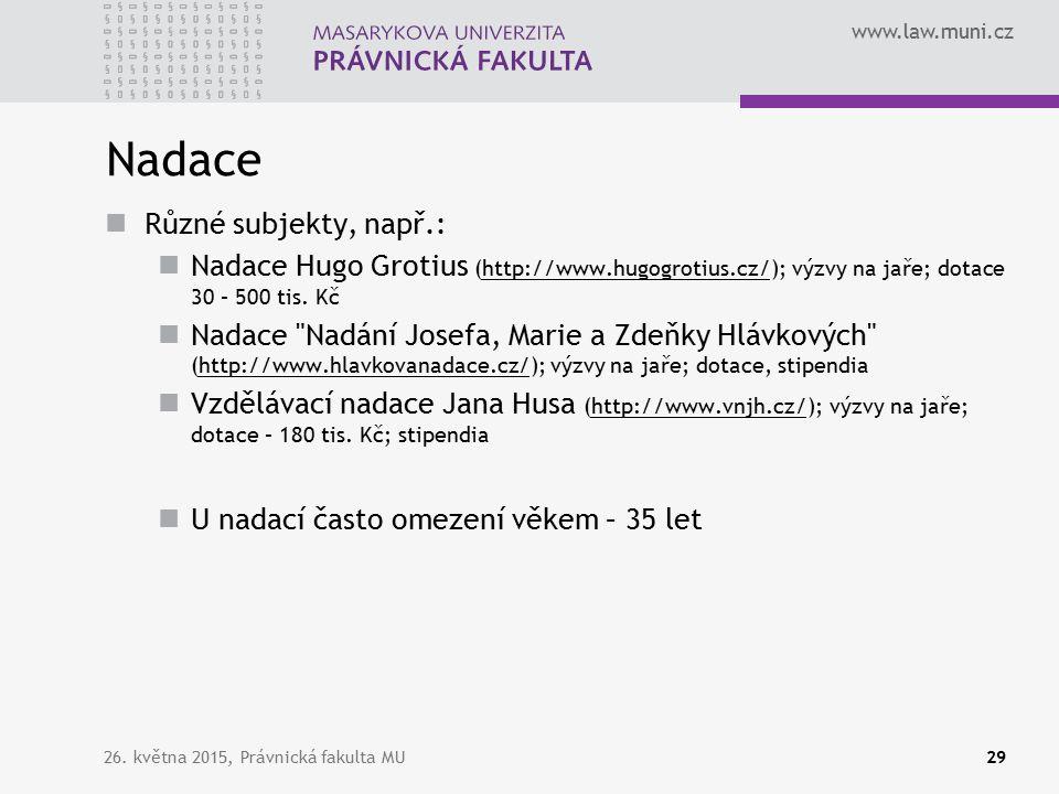 www.law.muni.cz Nadace Různé subjekty, např.: Nadace Hugo Grotius (http://www.hugogrotius.cz/); výzvy na jaře; dotace 30 – 500 tis.