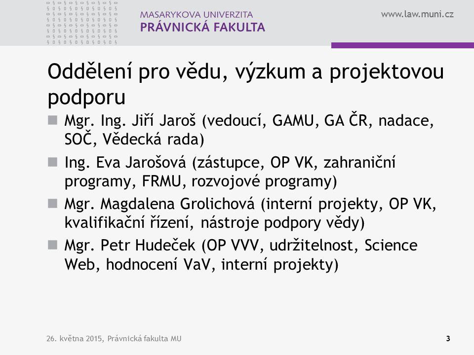 www.law.muni.cz OP VVV a Právnická fakulta MU PrF jako součást celouniverzitních projektů PrF jako partner jiných projektů (jednotlivá pracoviště MU mohou být zapojena v projektech jiných žadatelů) právní aspekty xy právní minimum celoživotní vzdělávání 26.