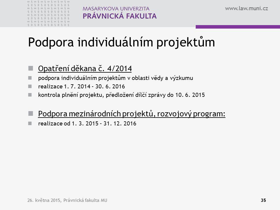 www.law.muni.cz Podpora individuálním projektům Opatření děkana č.