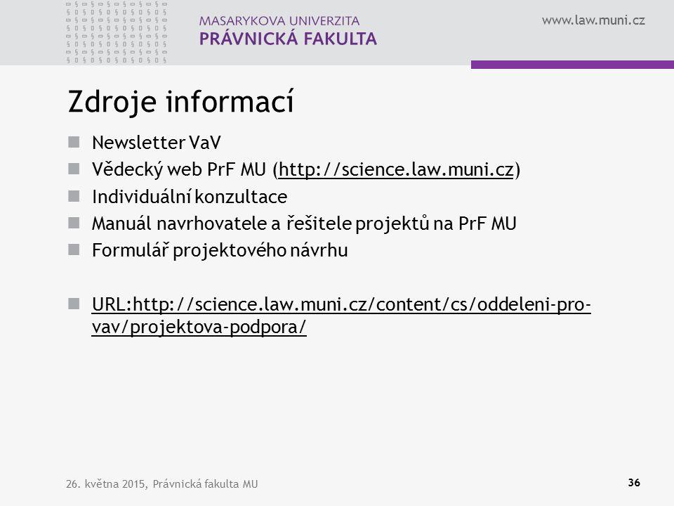 www.law.muni.cz Zdroje informací Newsletter VaV Vědecký web PrF MU (http://science.law.muni.cz)http://science.law.muni.cz Individuální konzultace Manuál navrhovatele a řešitele projektů na PrF MU Formulář projektového návrhu URL:http://science.law.muni.cz/content/cs/oddeleni-pro- vav/projektova-podpora/ URL:http://science.law.muni.cz/content/cs/oddeleni-pro- vav/projektova-podpora/ 26.