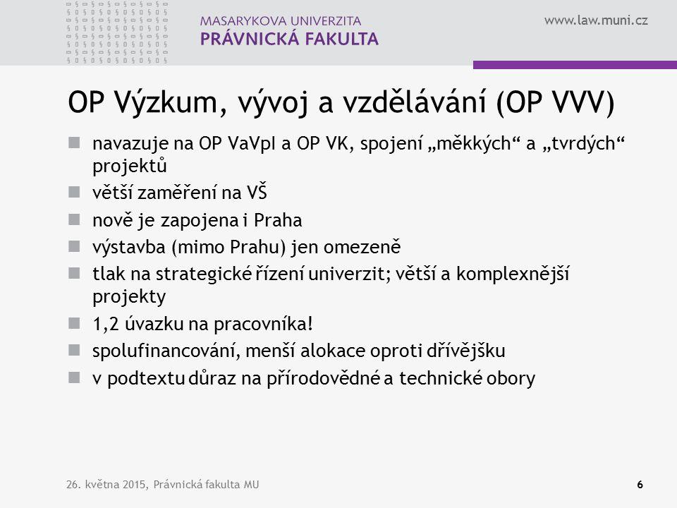 www.law.muni.cz Zdroje informací Na projektech se s námi podílí i paní tajemnice, EO, doktorské oddělení (specifický výzkum) atd.