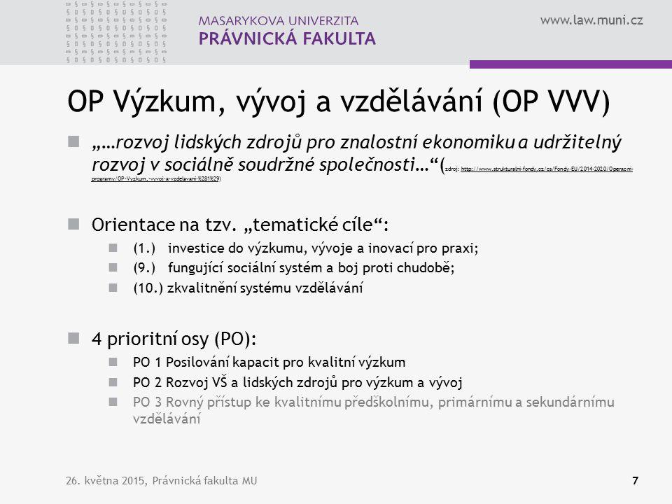 """www.law.muni.cz OP Výzkum, vývoj a vzdělávání (OP VVV) """"…rozvoj lidských zdrojů pro znalostní ekonomiku a udržitelný rozvoj v sociálně soudržné společnosti… ( zdroj: http://www.strukturalni-fondy.cz/cs/Fondy-EU/2014-2020/Operacni- programy/OP-Vyzkum,-vyvoj-a-vzdelavani-%281%29)http://www.strukturalni-fondy.cz/cs/Fondy-EU/2014-2020/Operacni- programy/OP-Vyzkum,-vyvoj-a-vzdelavani-%281%29 Orientace na tzv."""