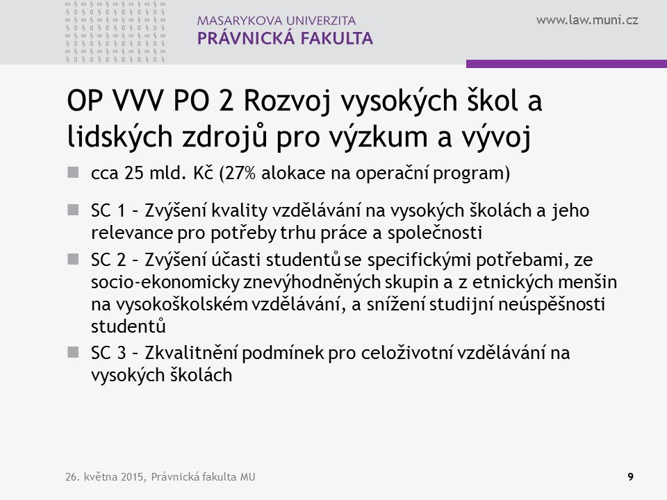 www.law.muni.cz OP VVV PO 2 Rozvoj vysokých škol a lidských zdrojů pro výzkum a vývoj cca 25 mld.