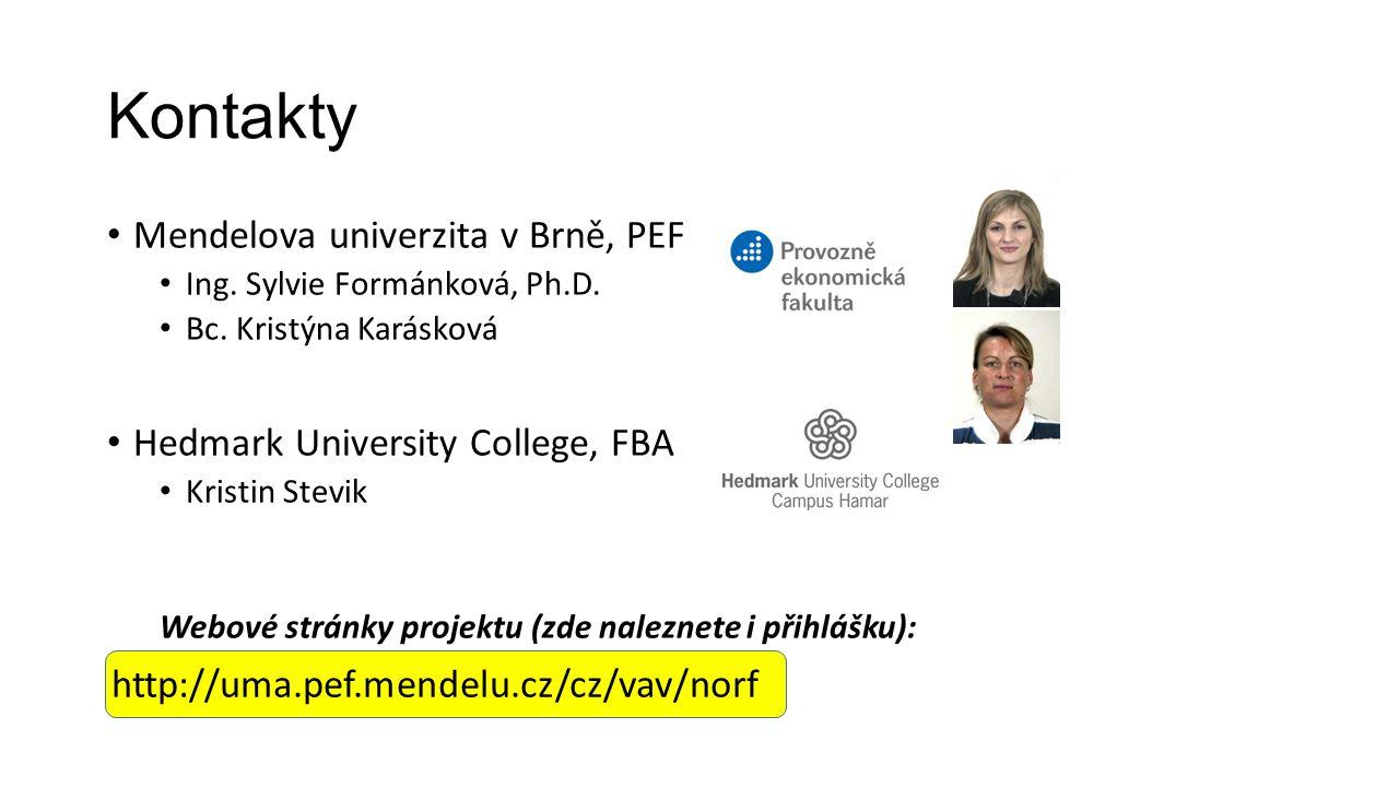 Kontakty Mendelova univerzita v Brně, PEF Ing. Sylvie Formánková, Ph.D.