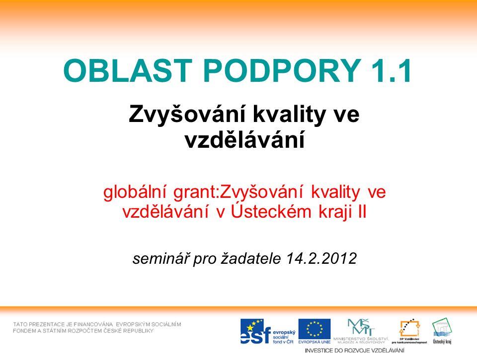 OBLAST PODPORY 1.1 Zvyšování kvality ve vzdělávání globální grant:Zvyšování kvality ve vzdělávání v Ústeckém kraji II seminář pro žadatele 14.2.2012