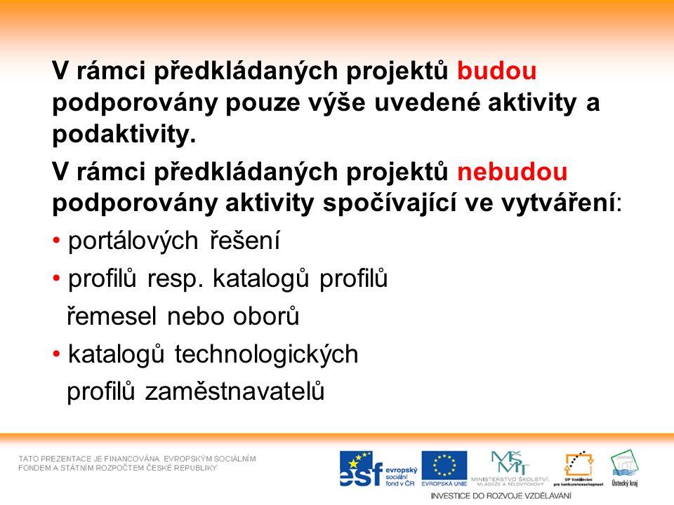 V rámci předkládaných projektů budou podporovány pouze výše uvedené aktivity a podaktivity.