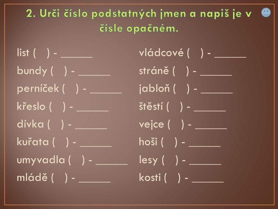 list ( ) - _____ bundy ( ) - _____ perníček ( ) - _____ křeslo ( ) - _____ dívka ( ) - _____ kuřata ( ) - _____ umyvadla ( ) - _____ mládě ( ) - _____