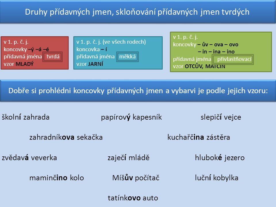 v 1. p. č. j. koncovky –ý –á –é přídavná jména tvrdá vzor MLADÝ Druhy přídavných jmen, skloňování přídavných jmen tvrdých v 1. p. č. j. (ve všech rode