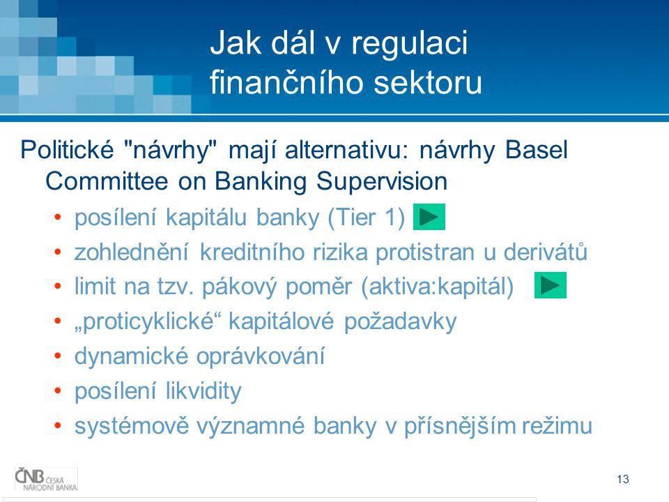13 Jak dál v regulaci finančního sektoru Politické návrhy mají alternativu: návrhy Basel Committee on Banking Supervision posílení kapitálu banky (Tier 1) zohlednění kreditního rizika protistran u derivátů limit na tzv.