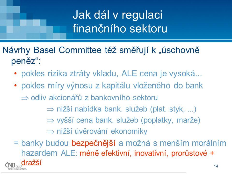 """14 Jak dál v regulaci finančního sektoru Návrhy Basel Committee též směřují k """"úschovně peněz : pokles rizika ztráty vkladu, ALE cena je vysoká..."""