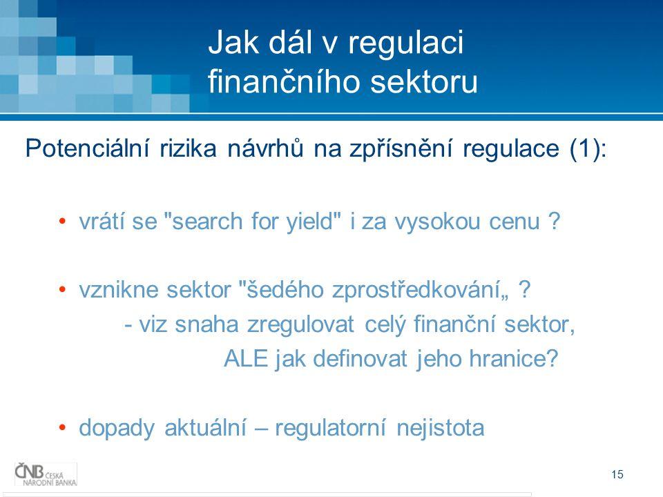 15 Jak dál v regulaci finančního sektoru Potenciální rizika návrhů na zpřísnění regulace (1): vrátí se search for yield i za vysokou cenu .
