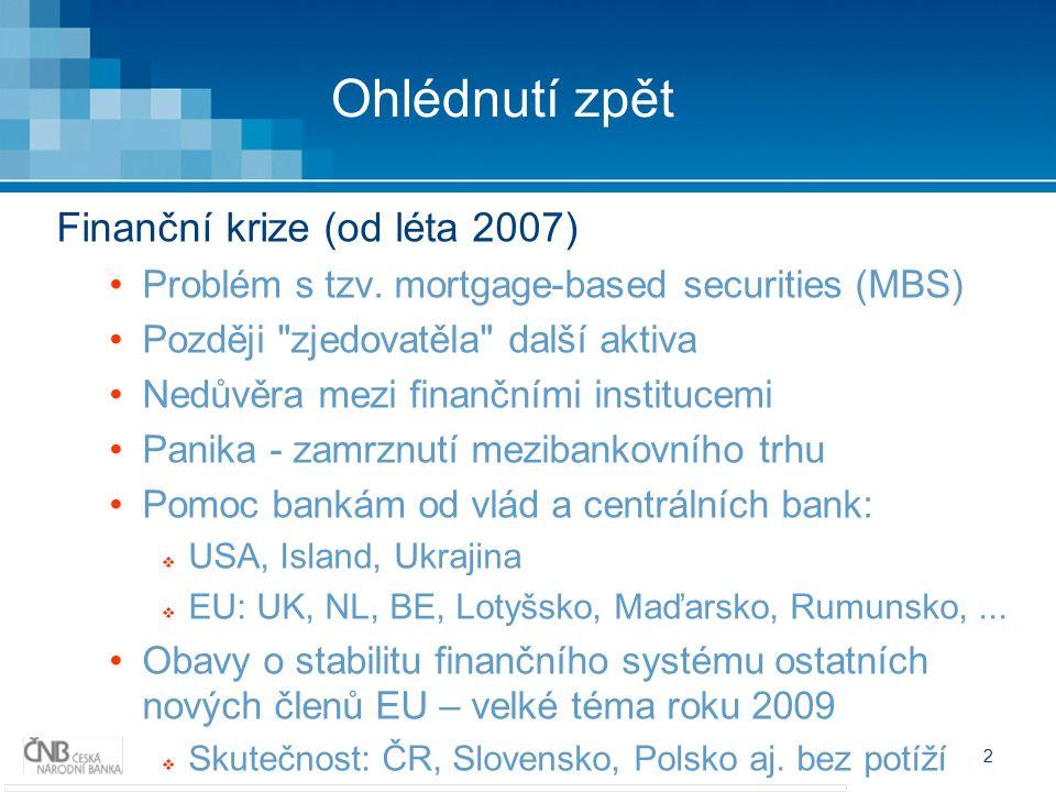 2 Ohlédnutí zpět Finanční krize (od léta 2007) Problém s tzv.