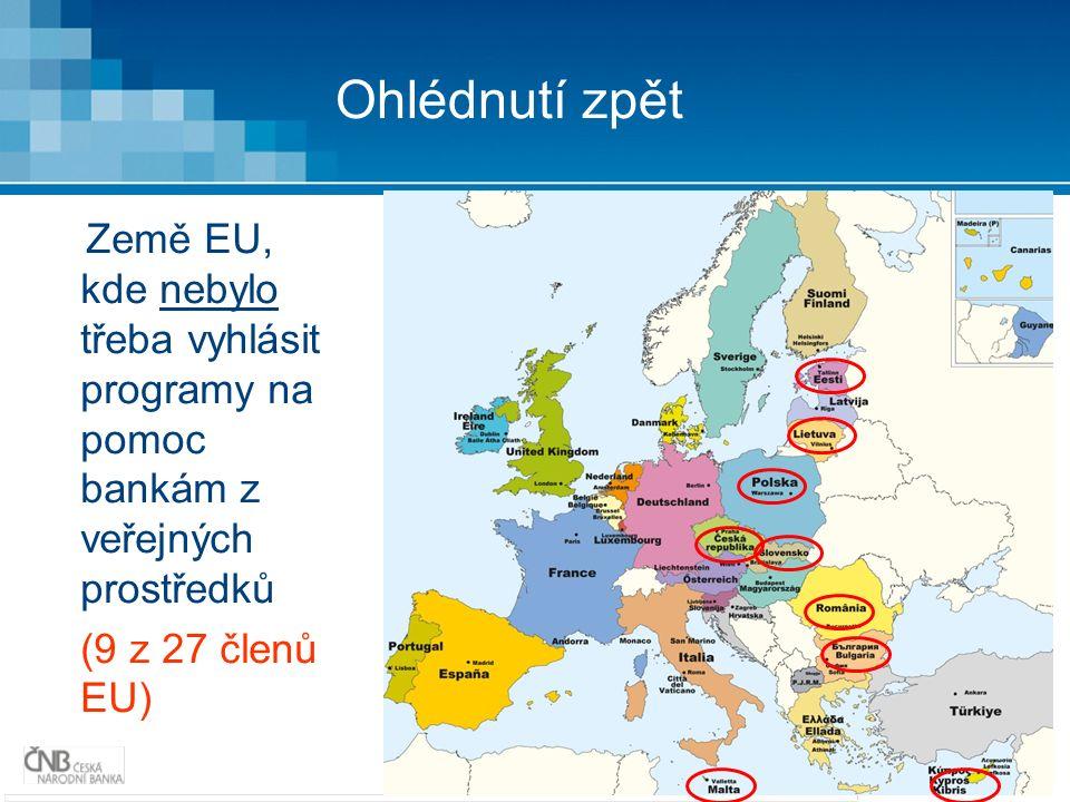 3 Ohlédnutí zpět Země EU, kde nebylo třeba vyhlásit programy na pomoc bankám z veřejných prostředků (9 z 27 členů EU)