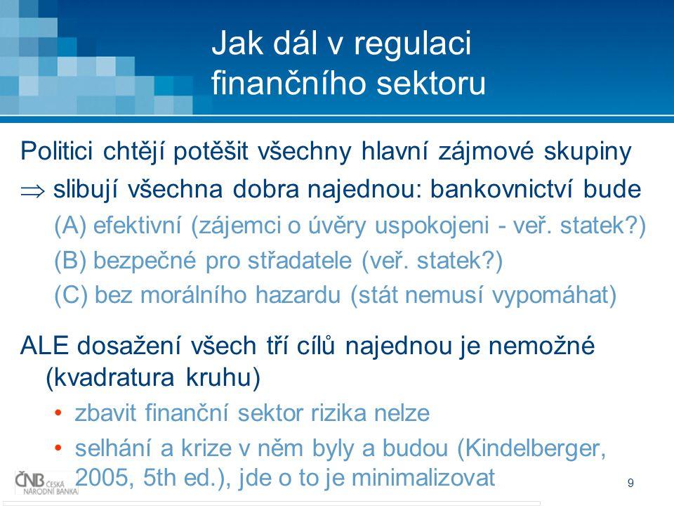 9 Jak dál v regulaci finančního sektoru Politici chtějí potěšit všechny hlavní zájmové skupiny  slibují všechna dobra najednou: bankovnictví bude (A) efektivní (zájemci o úvěry uspokojeni - veř.