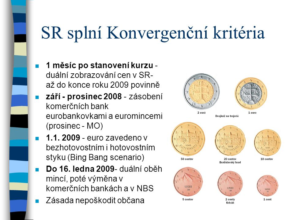 SR splní Konvergenční kritéria n 1 měsíc po stanovení kurzu - duální zobrazování cen v SR- až do konce roku 2009 povinně n září - prosinec 2008 - zásobení komerčních bank eurobankovkami a euromincemi (prosinec - MO) n 1.1.