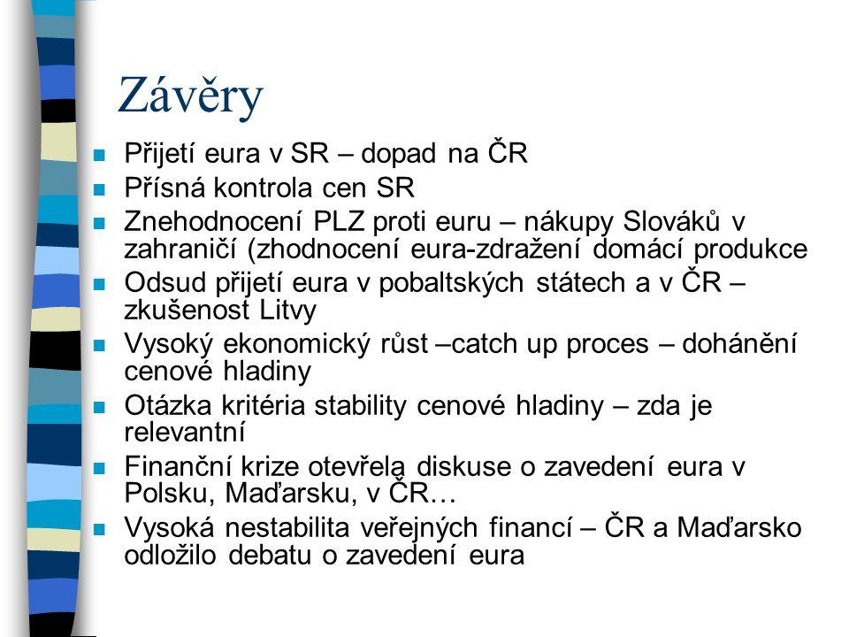 Závěry n Přijetí eura v SR – dopad na ČR n Přísná kontrola cen SR n Znehodnocení PLZ proti euru – nákupy Slováků v zahraničí (zhodnocení eura-zdražení domácí produkce n Odsud přijetí eura v pobaltských státech a v ČR – zkušenost Litvy n Vysoký ekonomický růst –catch up proces – dohánění cenové hladiny n Otázka kritéria stability cenové hladiny – zda je relevantní n Finanční krize otevřela diskuse o zavedení eura v Polsku, Maďarsku, v ČR… n Vysoká nestabilita veřejných financí – ČR a Maďarsko odložilo debatu o zavedení eura