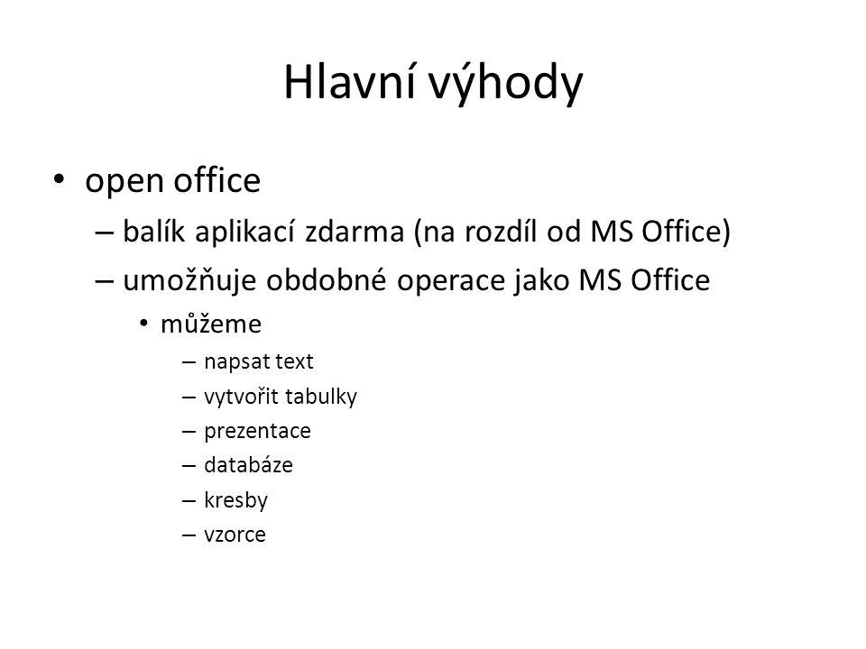 Hlavní výhody open office – balík aplikací zdarma (na rozdíl od MS Office) – umožňuje obdobné operace jako MS Office můžeme – napsat text – vytvořit tabulky – prezentace – databáze – kresby – vzorce