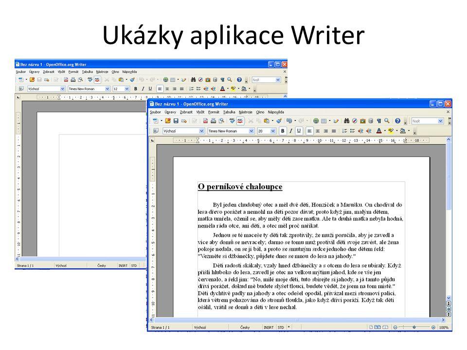 Ukázky aplikace Writer