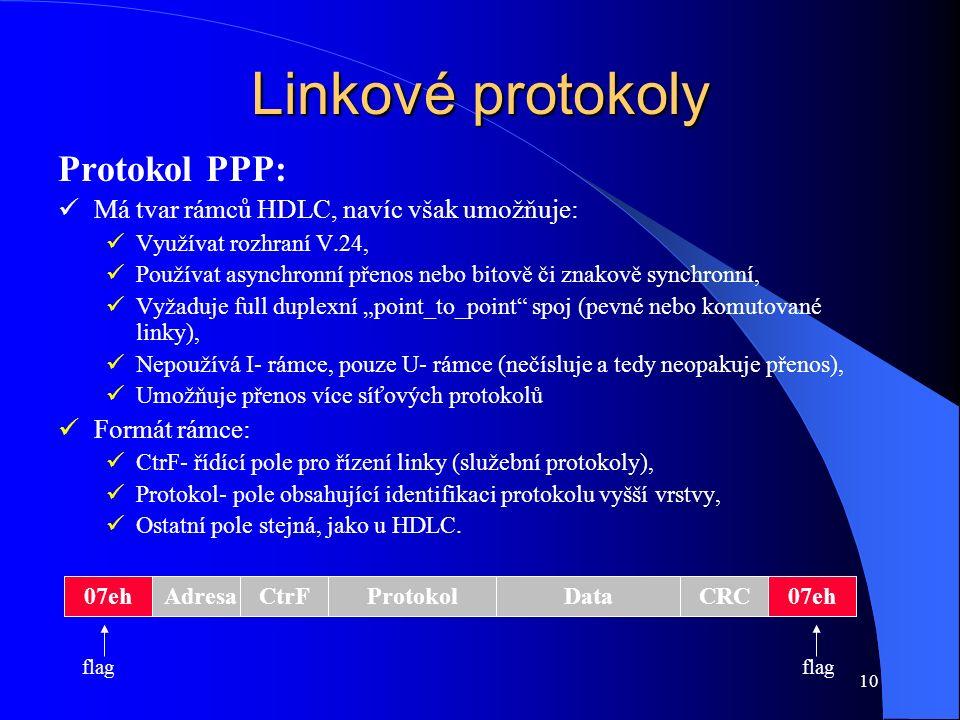 """10 Linkové protokoly Protokol PPP: Má tvar rámců HDLC, navíc však umožňuje: Využívat rozhraní V.24, Používat asynchronní přenos nebo bitově či znakově synchronní, Vyžaduje full duplexní """"point_to_point spoj (pevné nebo komutované linky), Nepoužívá I- rámce, pouze U- rámce (nečísluje a tedy neopakuje přenos), Umožňuje přenos více síťových protokolů Formát rámce: CtrF- řídící pole pro řízení linky (služební protokoly), Protokol- pole obsahující identifikaci protokolu vyšší vrstvy, Ostatní pole stejná, jako u HDLC."""