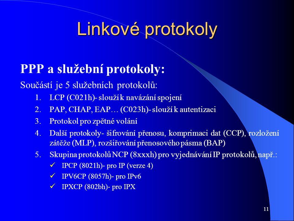 11 Linkové protokoly PPP a služební protokoly: Součástí je 5 služebních protokolů: 1.LCP (C021h)- slouží k navázání spojení 2.PAP, CHAP, EAP… (C023h)- slouží k autentizaci 3.Protokol pro zpětné volání 4.Další protokoly- šifrování přenosu, komprimaci dat (CCP), rozložení zátěže (MLP), rozšiřování přenosového pásma (BAP) 5.Skupina protokolů NCP (8xxxh) pro vyjednávání IP protokolů, např.: IPCP (8021h)- pro IP (verze 4) IPV6CP (8057h)- pro IPv6 IPXCP (802bh)- pro IPX