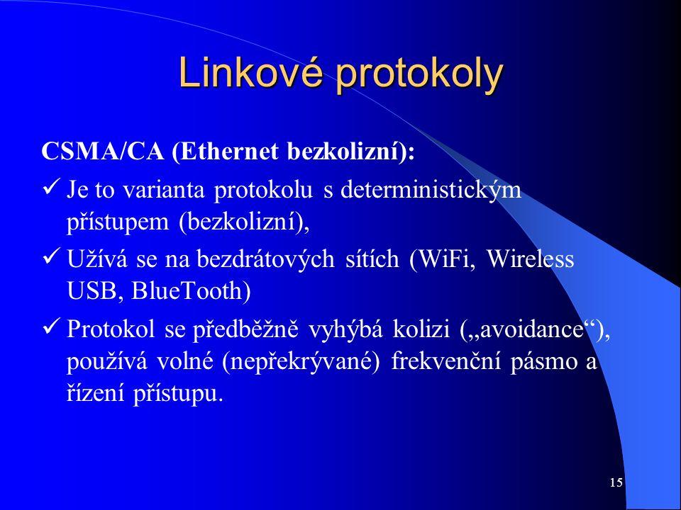 """15 Linkové protokoly CSMA/CA (Ethernet bezkolizní): Je to varianta protokolu s deterministickým přístupem (bezkolizní), Užívá se na bezdrátových sítích (WiFi, Wireless USB, BlueTooth) Protokol se předběžně vyhýbá kolizi (""""avoidance ), používá volné (nepřekrývané) frekvenční pásmo a řízení přístupu."""