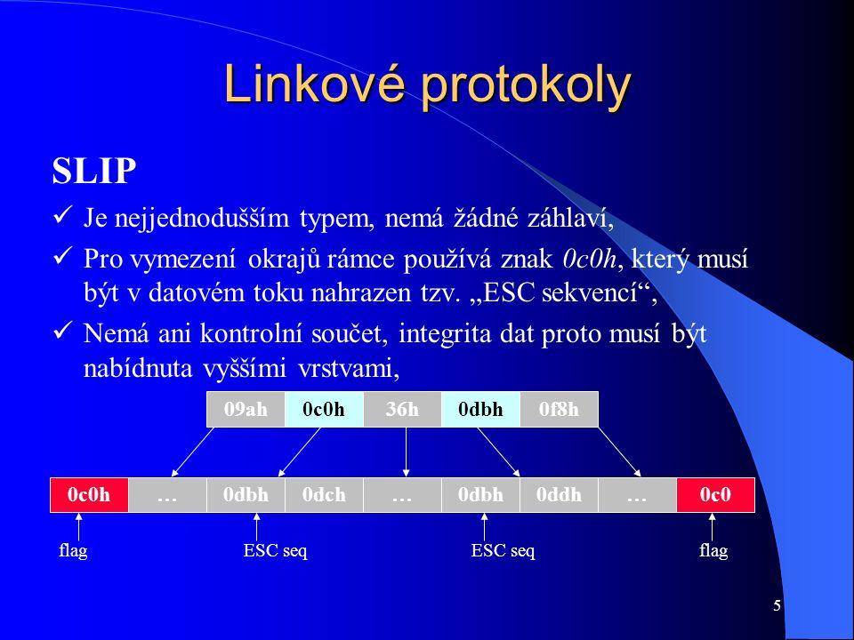 5 Linkové protokoly SLIP Je nejjednodušším typem, nemá žádné záhlaví, Pro vymezení okrajů rámce používá znak 0c0h, který musí být v datovém toku nahrazen tzv.