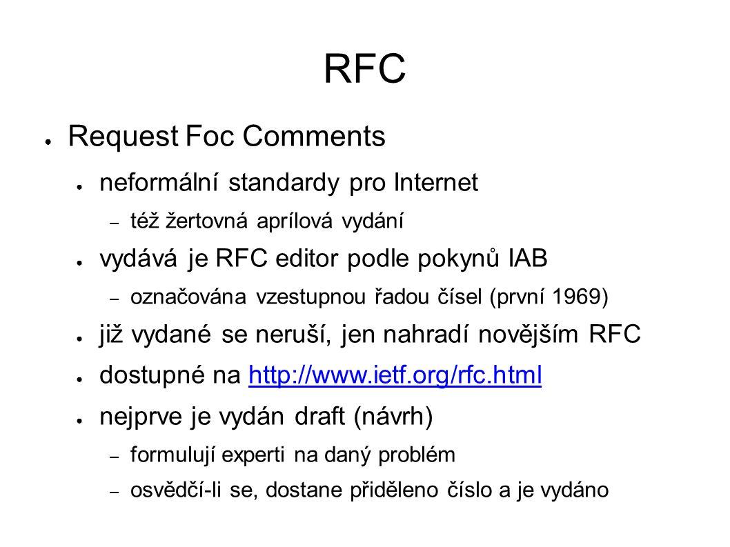 RFC ● Request Foc Comments ● neformální standardy pro Internet – též žertovná aprílová vydání ● vydává je RFC editor podle pokynů IAB – označována vzestupnou řadou čísel (první 1969) ● již vydané se neruší, jen nahradí novějším RFC ● dostupné na http://www.ietf.org/rfc.htmlhttp://www.ietf.org/rfc.html ● nejprve je vydán draft (návrh) – formulují experti na daný problém – osvědčí-li se, dostane přiděleno číslo a je vydáno