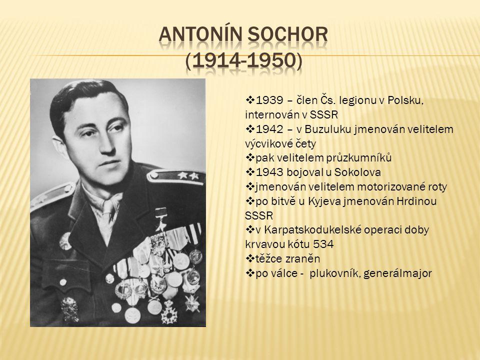  1939 – člen Čs. legionu v Polsku, internován v SSSR  1942 – v Buzuluku jmenován velitelem výcvikové čety  pak velitelem průzkumníků  1943 bojoval