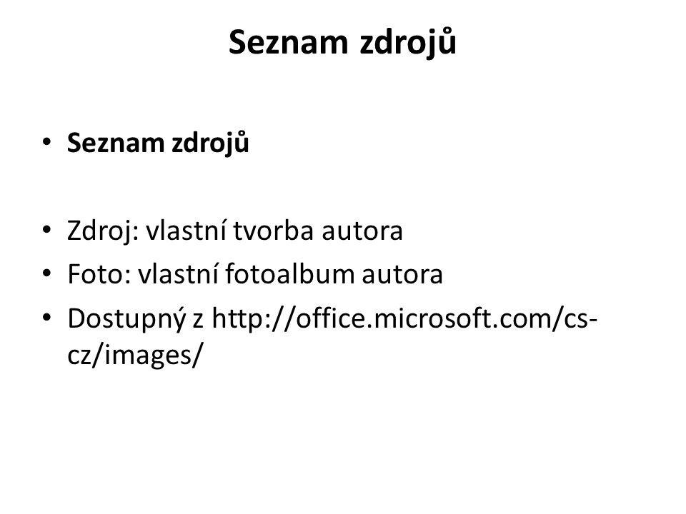 Seznam zdrojů Zdroj: vlastní tvorba autora Foto: vlastní fotoalbum autora Dostupný z http://office.microsoft.com/cs- cz/images/ Seznam zdrojů