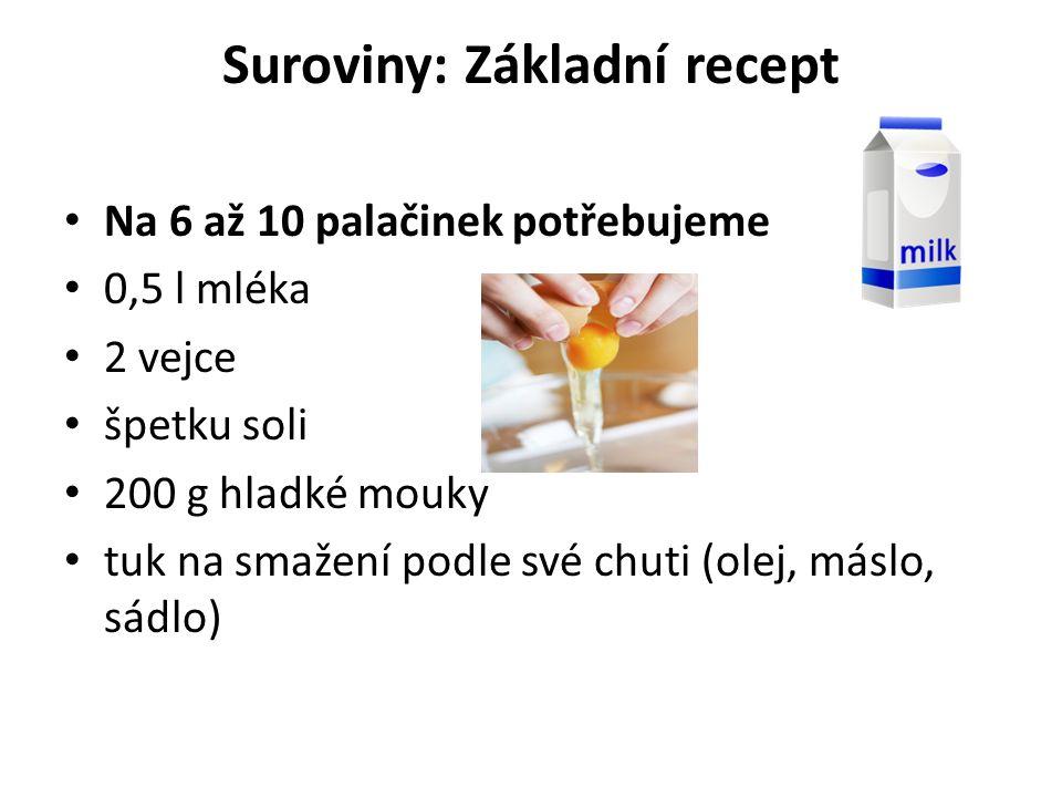 Suroviny: Základní recept Na 6 až 10 palačinek potřebujeme 0,5 l mléka 2 vejce špetku soli 200 g hladké mouky tuk na smažení podle své chuti (olej, máslo, sádlo)