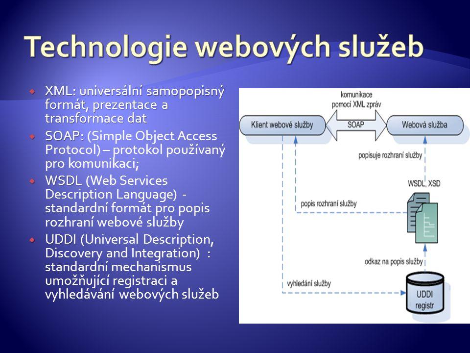  XML: universální samopopisný formát, prezentace a transformace dat  SOAP:  SOAP: (Simple Object Access Protocol) – protokol používaný pro komunika
