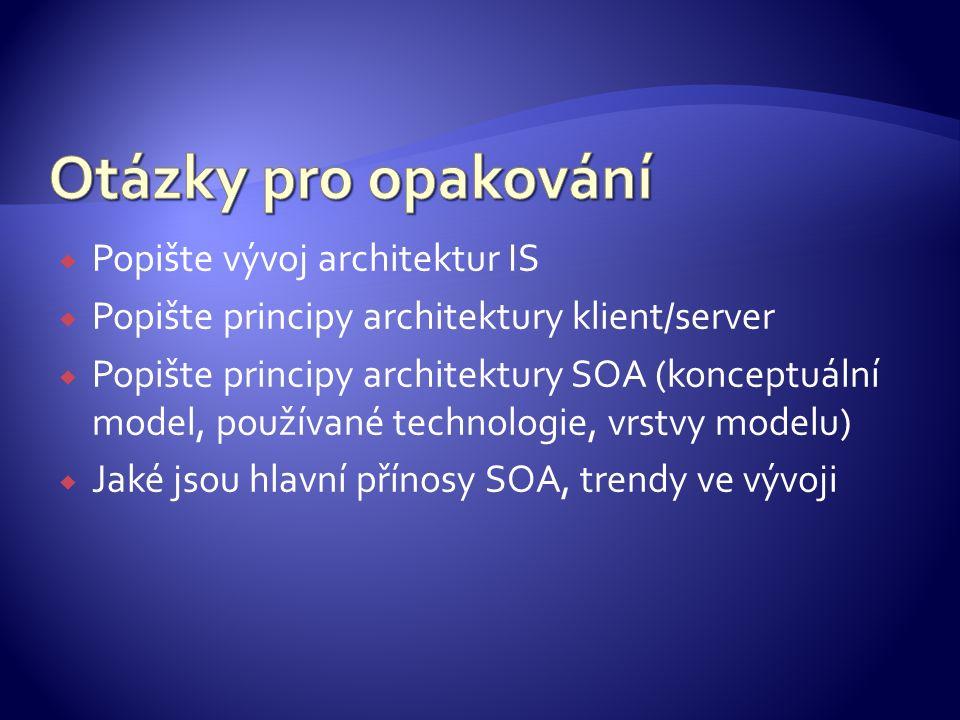  Popište vývoj architektur IS  Popište principy architektury klient/server  Popište principy architektury SOA (konceptuální model, používané techno