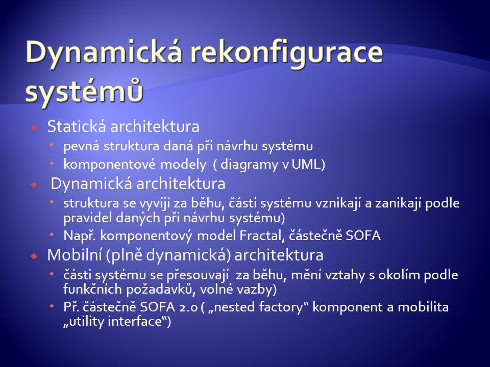  Statická architektura  pevná struktura daná při návrhu systému  komponentové modely ( diagramy v UML)  Dynamická architektura  struktura se vyví