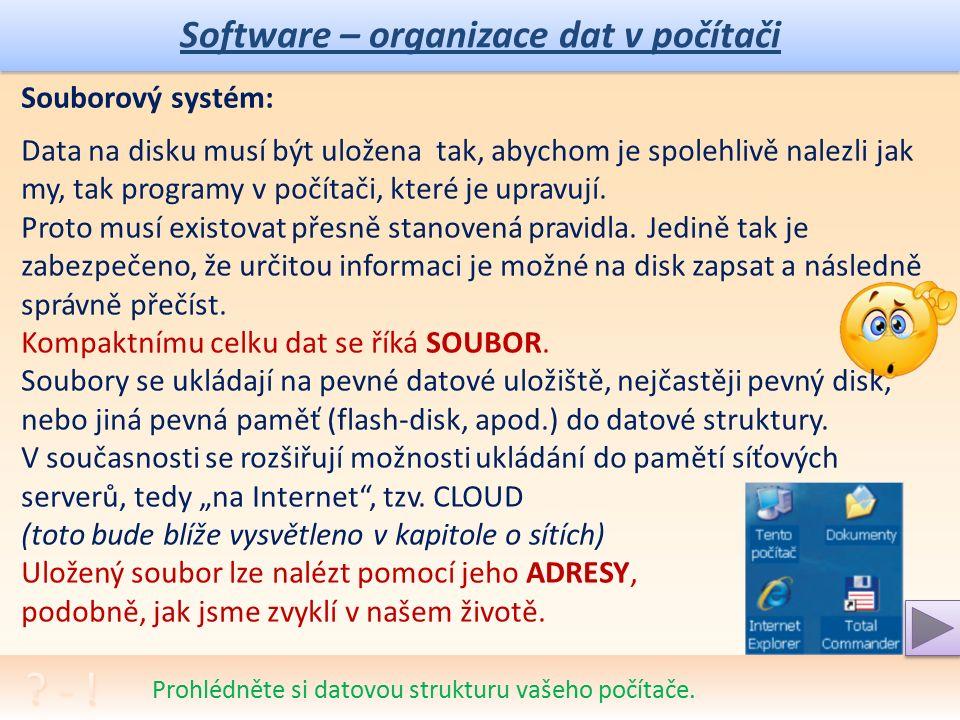Software – organizace dat v počítači Pokuste se správně přiřadit co nejvíce přípon.