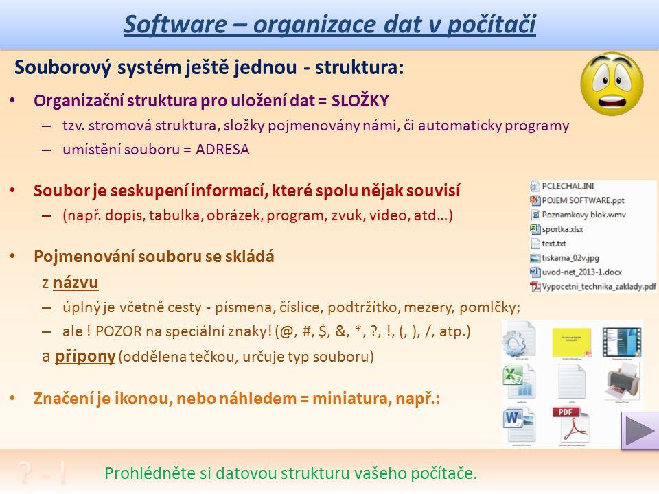 Software – organizace dat v počítači Souborový systém ještě jednou - struktura: Organizační struktura pro uložení dat = SLOŽKY – tzv.