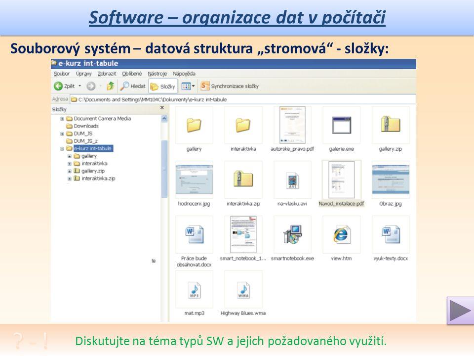 Software – organizace dat v počítači Diskutujte na téma typů SW a jejich požadovaného využití.