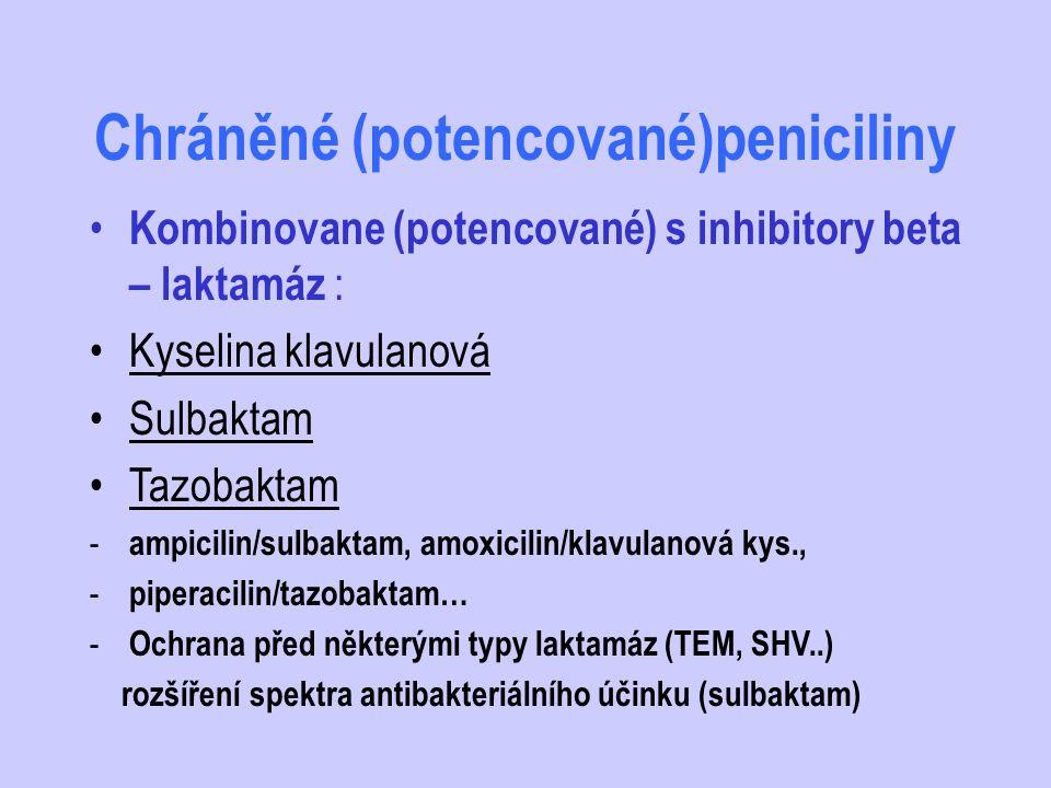Chráněné (potencované)peniciliny Kombinovane (potencované) s inhibitory beta – laktamáz : Kyselina klavulanová Sulbaktam Tazobaktam - ampicilin/sulbak
