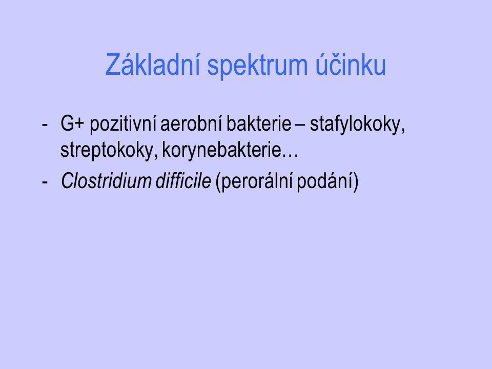 Základní spektrum účinku -G+ pozitivní aerobní bakterie – stafylokoky, streptokoky, korynebakterie… - Clostridium difficile (perorální podání)
